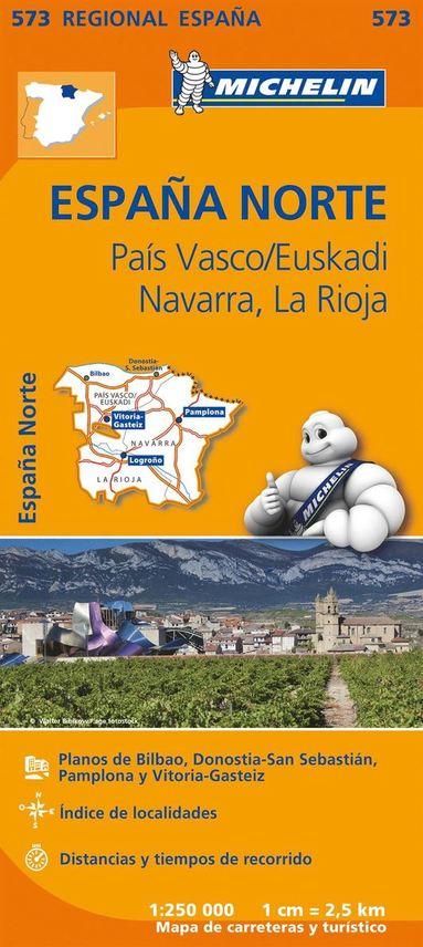 bokomslag Pais Vasco, Navarra, La Rioja - Michelin Regional Map 573