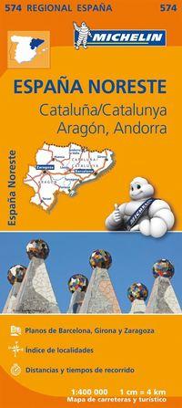 Aragon Cataluna Michelin 574 delkarta Spanien : 1:400000