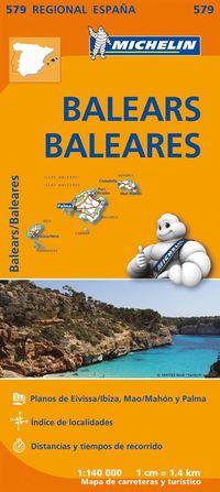 Balearerna Michelin 579 delkarta Spanien : 1:140000