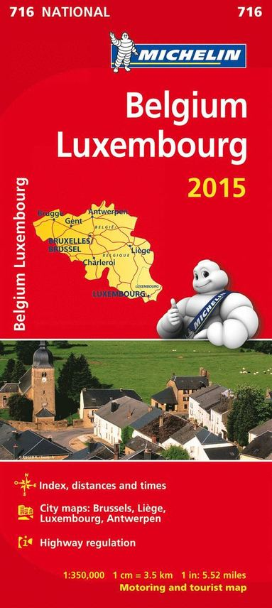 bokomslag Belgien Luxemburg 2015 Michelin 716 karta : 1:350000