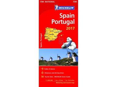 bokomslag Spanien Portugal 2017 Michelin 734 karta : 1:1milj