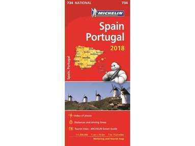 bokomslag Spanien Portugal 2018 Michelin 734 Karta