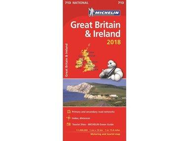 bokomslag Storbritannien och Irland 2018 Michelin 713 Karta