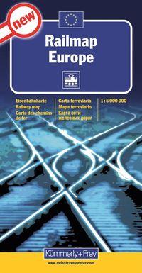 Järnvägskarta Europa Kümmerley Frey : 1:5milj