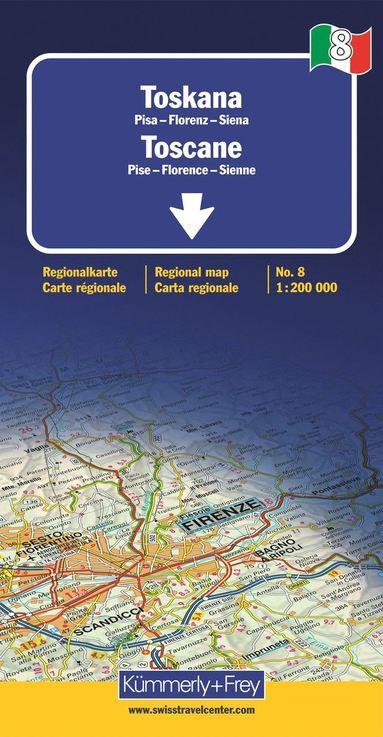 bokomslag Toskana Toscane Regional map 1:200 000 (No 8)