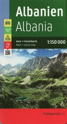 bokomslag Albanien Albania Autokarte Top 10 Tips 1:150.000