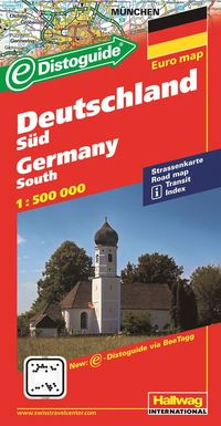Södra Tyskland Distoguide Hallwag karta : 1:500000
