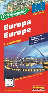 Europa Distoguide Hallwag karta : 1:3,6milj