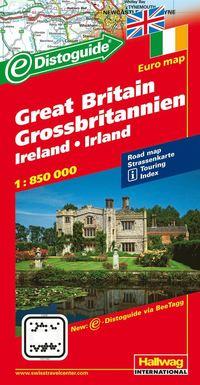Storbritannien Distoguide Hallwag karta : 1:850000