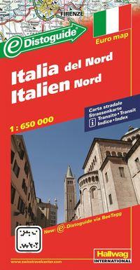 bokomslag Norra Italien Distoguide Hallwag karta : 1:650000