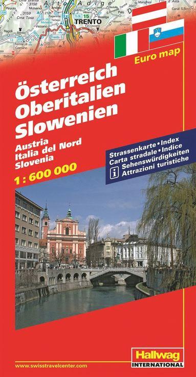 bokomslag Österrike Norra Italien Slovenien Hallwag karta : 1:600000