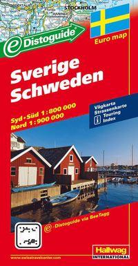 Sverige Distoguide Hallwag karta : 1:800000-1:900000