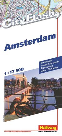 Amsterdam City Flash Hallwag stadskarta : 1:17500