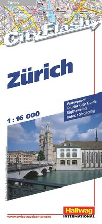 Zürich City Flash Hallwag stadskarta : 1:15500