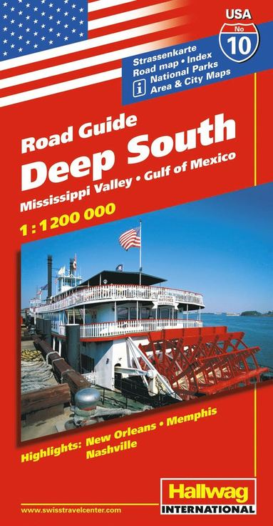 bokomslag USA Deep South/Södra USA karta nr 10 Hallwag : 1:1,2milj