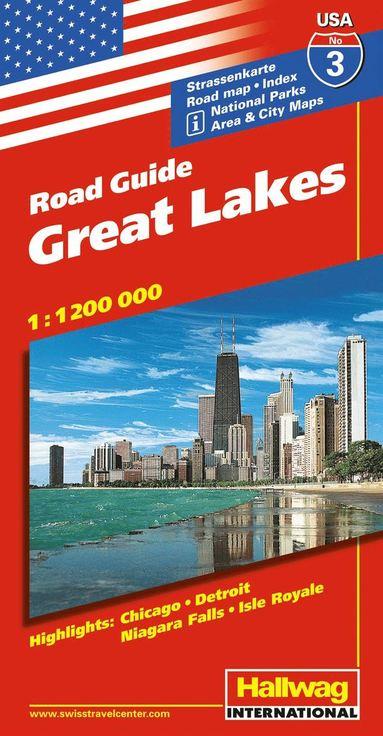 bokomslag USA Great Lakes/Stora sjöarna karta nr 3 Hallwag : 1:1,2milj