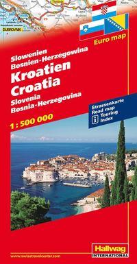 Kroatien Slovenien Bosnien Herzegowina Hallwag karta : 1:500000
