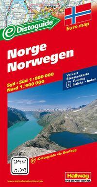 Norge Distoguide Hallwag karta : 1:800000-1:900000