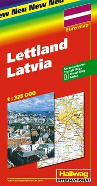 Lettland Hallwag karta : 1:325000