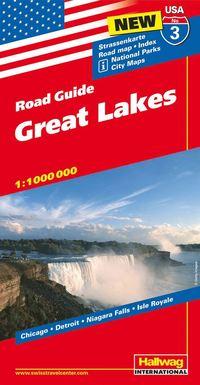 bokomslag USA Great Lakes/Stora sjöarna karta nr 3 Hallwag : 1:1milj