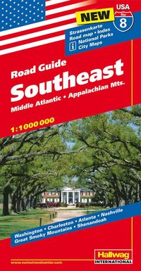 bokomslag USA Southeast/Sydöstra USA karta nr 8 Hallwag : 1:1milj
