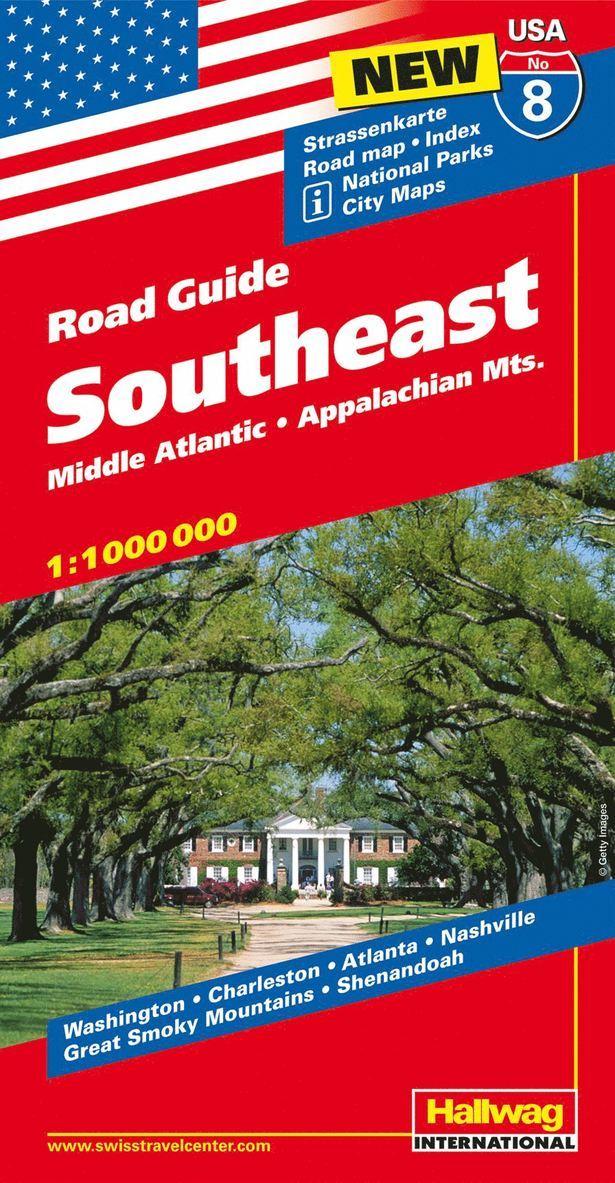 USA Southeast/Sydöstra USA karta nr 8 Hallwag : 1:1milj 1