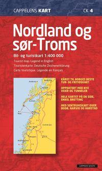 bokomslag Nordland og Sør Troms Bil- og turistkart 1:400 000 (CK4)