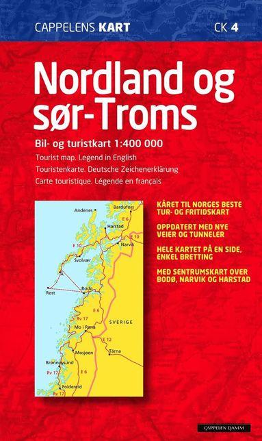 bokomslag Nordland og Sör Troms Cappelen Norge CK4 karta - 1:400000