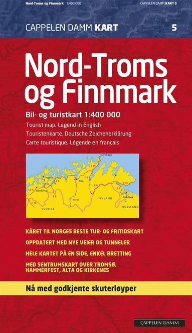 bokomslag Nord Troms og Finnmark Cappelen Norge CK5 kart - 1:400000