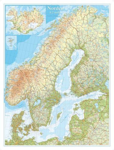 bokomslag Norden Väggkarta 1:2milj i tub : 1:2milj