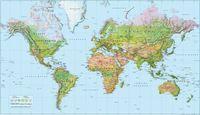Världen 1:55 milj väggkarta i tub