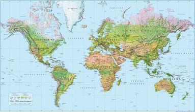 bokomslag Världen 1:55 milj väggkarta i tub