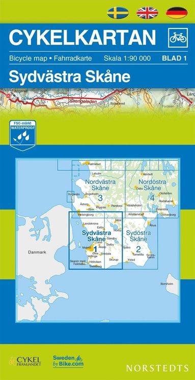 bokomslag Cykelkartan Blad 1 Sydvästra Skåne : 1:90000