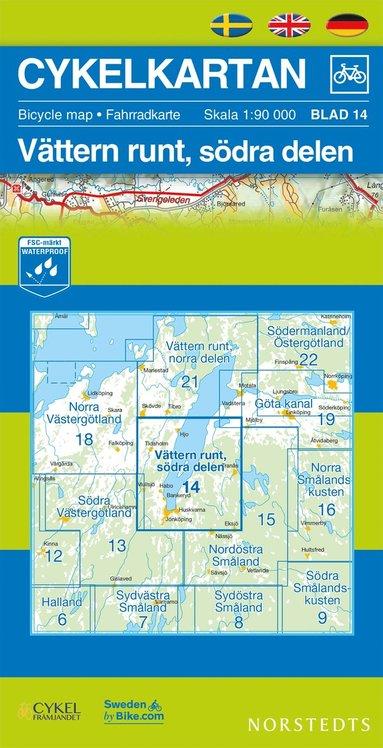 bokomslag Cykelkartan Blad 14 Vättern runt, södra delen : 1:90000