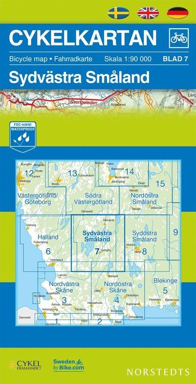 bokomslag Cykelkartan Blad 7 Sydvästra Småland : 1:90000
