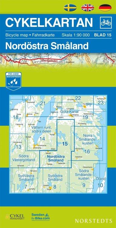 bokomslag Cykelkartan Blad 15 Nordöstra Småland : 1:90000