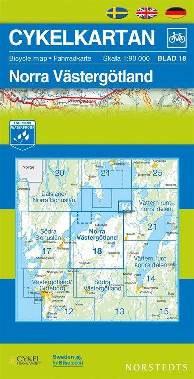 bokomslag Cykelkartan Blad 18 Norra Västergötland : 1:90000