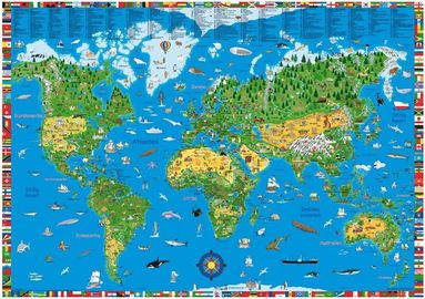 bokomslag Världskarta för barn väggkarta i tub