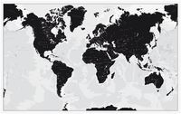 World wall map black and white