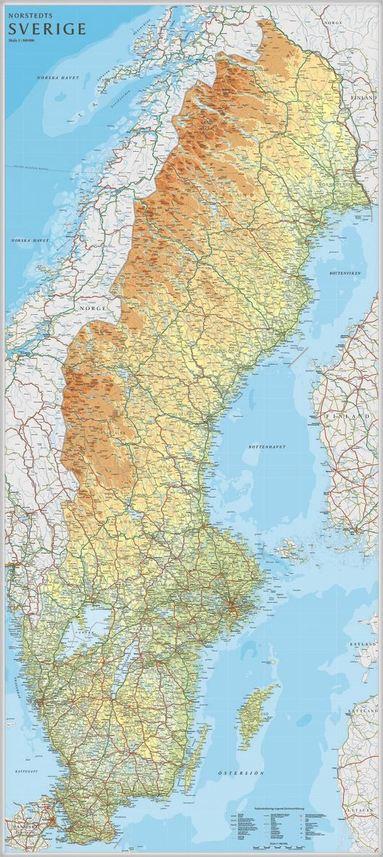 bokomslag Sverige väggkarta Norstedts 1:900000 i tub - 1:900000