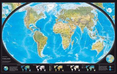bokomslag Världen väggkarta Norstedts 1:43,8 milj i tub
