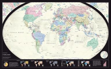 bokomslag Världen politisk 1:43,8 milj väggkarta i tub : 1:43,8 milj