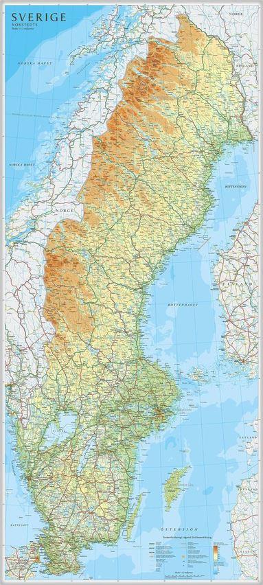 bokomslag Sverige väggkarta 1:1,3milj Norstedts i tub : 1:1,3milj