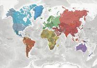 bokomslag Världen väggkarta Coloured Continents Norstedts i tub