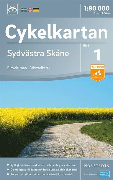 bokomslag Cykelkartan Blad 1 Sydvästra Skåne : Skala 1:90.000