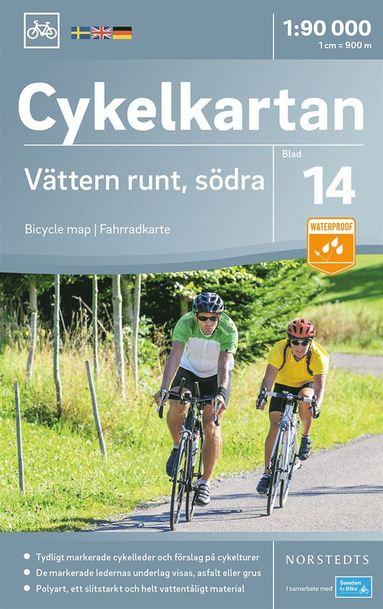 bokomslag Cykelkartan Blad 14 Vättern runt, södra delen : Skala 1:90.000