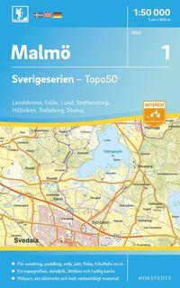 bokomslag 1 Malmö Sverigeserien Topo50 : Skala 1:50 000