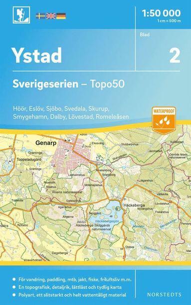 bokomslag 2 Ystad Sverigeserien Topo50 : Skala 1:50 000