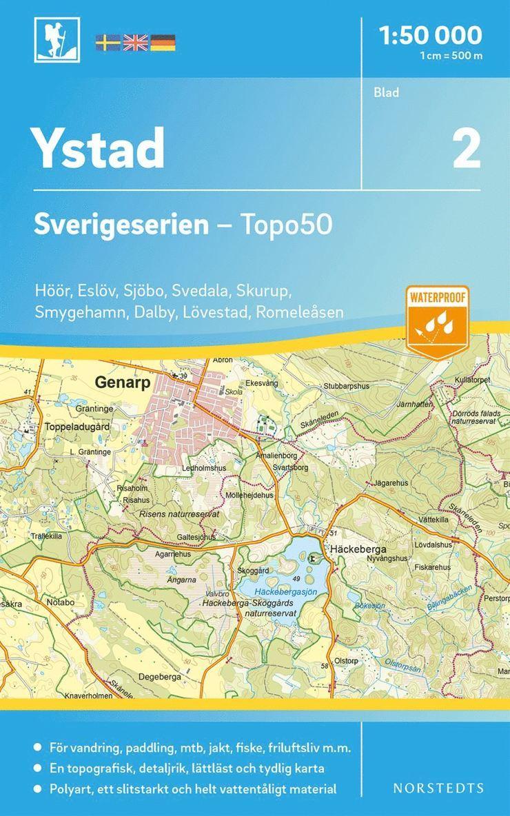 2 Ystad Sverigeserien Topo50 : Skala 1:50 000 1