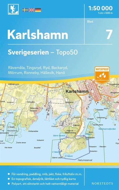 bokomslag 7 Karlshamn Sverigeserien Topo50 : Skala 1:50 000